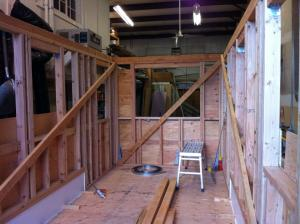 View towards the end of our tiny house where our couch will be.  The kitchen will be on the right side.