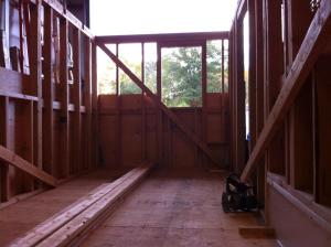 View towards the front where the entrance door and our tiny bathroom will be.