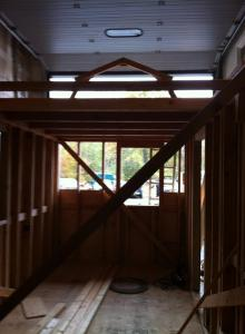 View from the inside (even though it's hard to see but both lofts are framed as well).