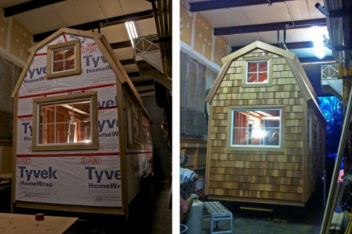 The back of our house before and after the siding was put on. Our