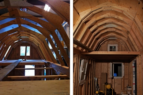 Here you can see the trusses that form our gambrel roof - we gained a lot of headspace.