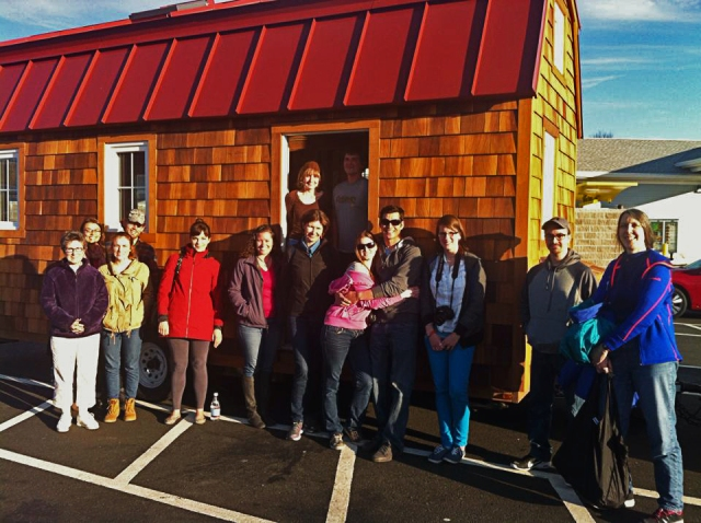 Attendees of the Tumble Tiny House Company's workshop in Long Island in front of our Runaway Shanty.